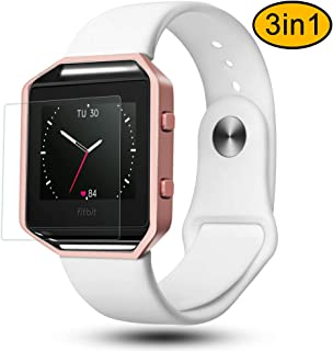 Greatgo Fitbit Blaze Bands 3 in 1 Watch Wristband Strap Soft Silicone Replacement Protective Case Frame with Screen Protector Smart Fitness Watch Bracelet for Men Women white
