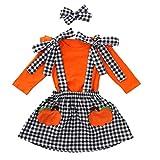 JKstore - Falda de Halloween para niña con diadema, calabaza de Halloween, manga larga, camisetas de cuadros, 12 M-5 T Naranja naranja 18 meses