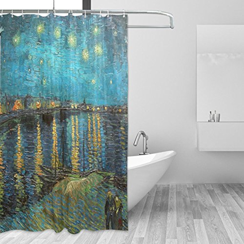 Jstel Van Gogh, Duschvorhang, Sternenhimmelresistent & wasserdicht, Polyestergewebe, 182,9 x 182,9 cm, für Zuhause, extra lang, dekorativer Duschvorhang mit 12 St&en