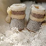Baby Girls Warm Winter Snow Boot Shoes Mid Calf Sparkly Rhinestone Pearl Bowknot Princess Bootie