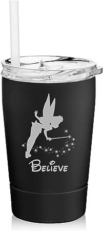 Stemless Wine Tumbler Coffee Travel Mug Glass Cup w// Lid Fairy Believe