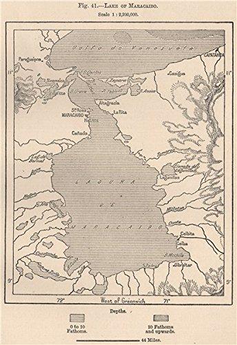 Lake of/Lago de Maracaibo. Venezuela - 1885 - Old map - Antique map - Vintage map - Printed maps of Venezuela