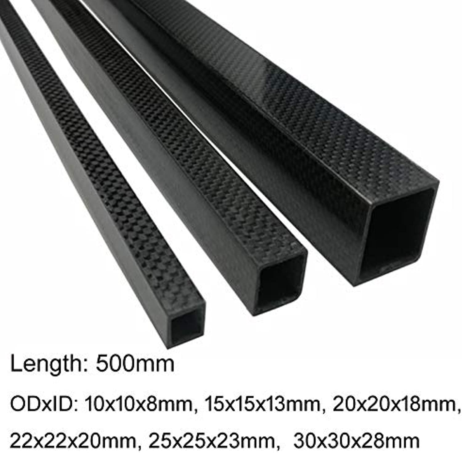 Laliva 1pcs 3K Full Carbon Fiber Square Tube high Strength Length 500mm OD 10mm 15mm 20mm 22mm 25mm 30mm Glossy Surface - (color  10X10X8X500mm)