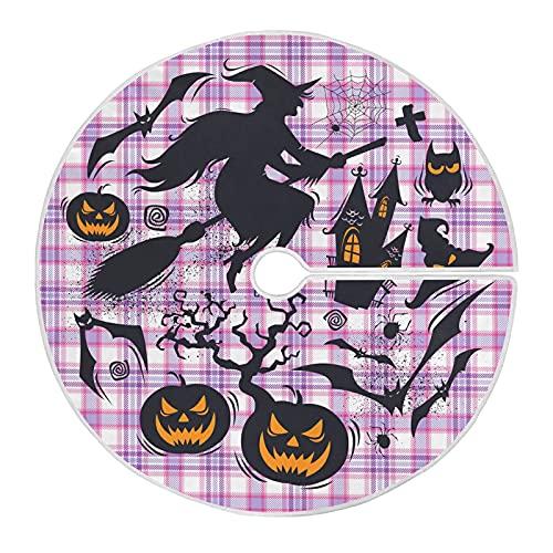 Cubierta De Falda De Árbol Halloween Bruja Calabaza Búho Murciélago Tartán Funda De Base De Árbol Rústica Falda De Árbol Sintética Falda De Árbol De Navidad para Fiesta Navideña 91cm