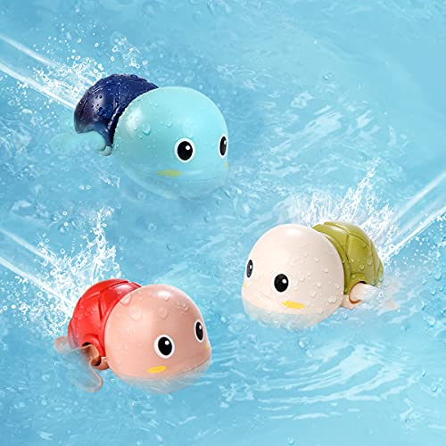 TOHIBEE Bath Toys Bathtub Toys for 1 2 3 Year Old Boy Girl Cute Swimming Turtle Bath Toys for Toddlers 1-3, Gift for 1 Year Old Boy Girl 3pcs Set.