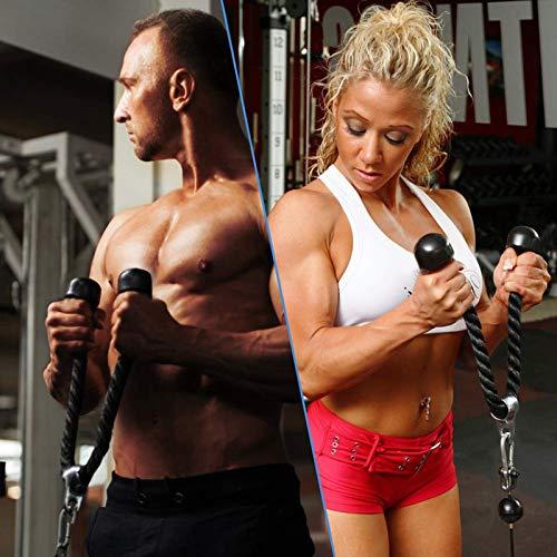 HNWTKJ Multifuncional Cuerda de Tríceps y Bíceps de Fitness Cable de Cuerda, Cuerda hacia Abajo Fijación de Cable con Mango Potente y Mosquetón para Fitness Culturismo y Gimnasio