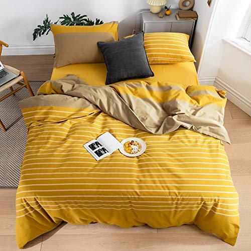 Bettwäscheset für Queen-Size-Betten, 100 % gewaschene Baumwolle, modernes Hotel-Bettwäsche-Kollektion, gestreift, gelb, Patchwork-Bettwäsche-Set, 1 Bettbezug mit 2 Kissenbezügen