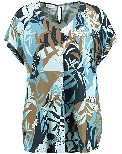 Gerry Weber Damen 1/2 Arm Bluse Mit Floralem Muster Leger Dark Navy Aqua Offwhite Druck 44