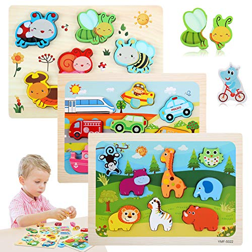 BelleStyle Giocattoli Puzzle 3D, Puzzle di Legno di attività di Montessori, Educativo Giocattoli Animali da Puzzle in Legno, Giochi Bambini 1 2 3 Anni, Baby Educativo Peg Puzzle Set Regalo - 3 Pezzi