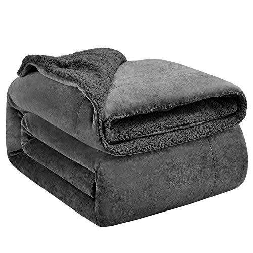 Hansleep Sherpa Fleece Throw Blanket Queen Size (220 x 240cm) Fluffy Ultra Soft Large Blankets Reversible for Sofa and Bed Throw, Grey