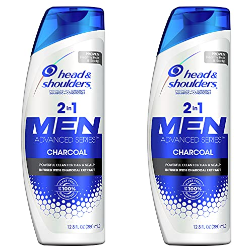 Head and Shoulders Shampoo and Conditioner 2 in 1, Anti Dandruff Treatment and Scalp Care, Charcoal for Men, 12.8 fl oz, Twin Pack