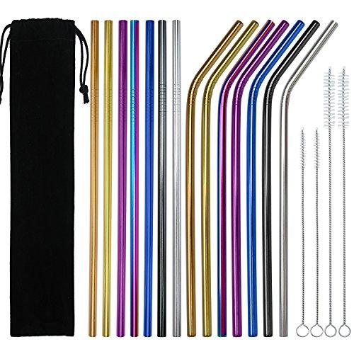 Keriber 14pièces en acier inoxydable pailles réutilisables en métal Bent et droites pailles avec lot de 4brosses de nettoyage et pochette de rangement, 7couleurs