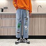 JUNTOP pantalón Punk Holgado para Mujer, Pantalones Boca Ropa KPOP Hip Hop Largo Retro Jeans Hombres Sueltos Pantalones de Pierna Recta Elástica Chicos Casual Pantalones Masculinos