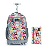 Tilami Rolling Backpack 18 inch with Pencil Case Wheeled Laptop Bag, Doughnut