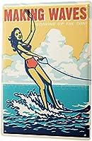 おかしいパブの家の装飾アルミ金属看板、水上スキーの女性ビキニ、錫の壁看板レトロな鉄の絵画ヴィンテージ金属プラーク装飾吊りアートワークポスターバーカフェストアホームヤード