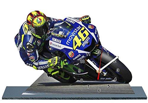 auto-horloge Valentino Rossi, Moto GP, Yamaha, Miniatur Modell Motorrad in der Uhr 09