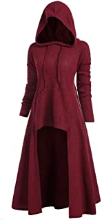 Womens Vintage Cloak Fashion Hooded Plus Size High Low Long Sleeve Blouse Tops