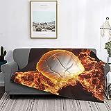 Dachangtui Manta Ultra-Soft Micro Fleece Blanket, Balon De Voleibol con Fuego PNG, Soft Fuzzy Lightweight Blanket for Bed Couch Living Room, 40 'x 50'