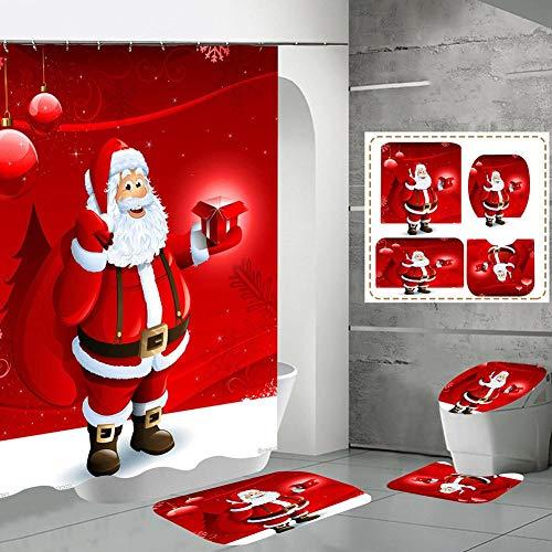 Juego De Cortina De Ducha, Muñeco De Nieve Navideño Cortina De Ducha Juego De 4 Piezas con Alfombra Antideslizante Alfombra De Baño Cubierta De Inodoro, para Baño Felpudo Baño Decorado con Navidad