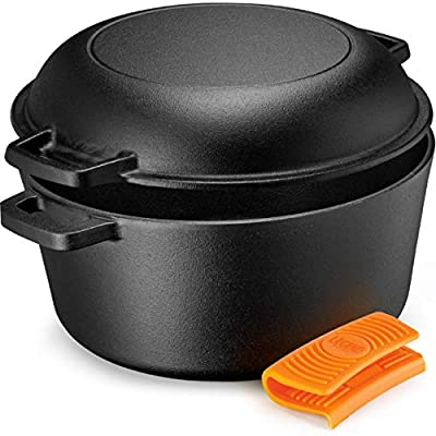 Legend Cast Iron Dutch Oven   5 Quart Cast Iron Multi Cooker Stock Pot For Frying, Cooking, Baking & Broiling on Induction, Electric, Gas & In Oven   Lightly Pre-Seasoned & Gets Better with Each Use