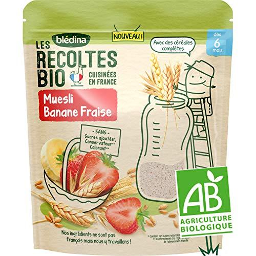 Blédina - Les Récoltes bio - Céréales pour les petits-déjeuners de bébé - Muesli Banane Fraise - dès 6 mois - 200g