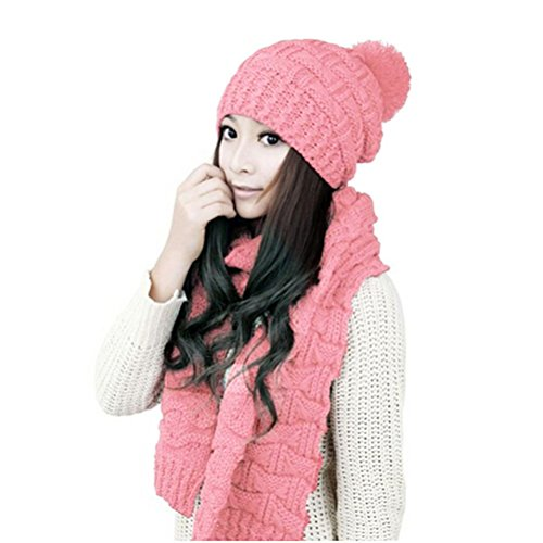 LEORX de invierno para mujer de punto engrosar el sombrero y bufanda...