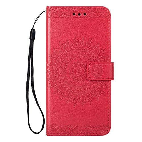 Huawei P20 Hülle, SONWO Premium Prägung Mandala PU Lederhülle Flip Brieftasche Hülle Cover Schale Ständer Etui Wallet Tasche Case Schutzhülle für Huawei P20, Rose Rot