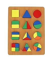 Educatief Heldere kleuren Zeer simulatie Vorm Cognitiebord, Geometrie Vorm Cognitie Speelgoed Houten Duurzaam Plezier voor kinderen(Geometric shape recognition board)