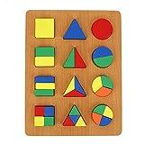 Tablero de cognición de forma, patrón de madera Bloques de formas Puzzle Juguete Geometría Tablero de cognición de forma Juguete para el desarrollo de la primera(Geometry Shape Cognition Board)