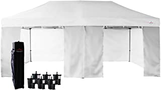 UNIQUECANOPY 10'x20' Ez Pop Up Canopy Tent Commercial Instant Shelter, with 4 Removable Zippered Side Walls and Heavy Duty Roller Bag, 6 Sand Bags White