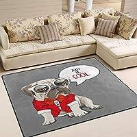 クールな子犬のパグ犬ヴィンテージグレーエリアラグラグリビングルームの寝室80x58インチ