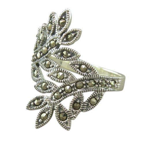 Genuine Sterling Silver Ring Marcasite Crossover Leaves Brand New