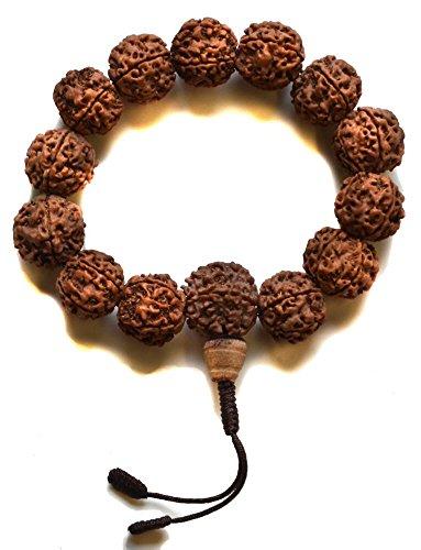 BUDDHAFIGUREN/Billy Held Hand-Mala Rudraksha - buddhistisches Armband mit 15 mm Beads