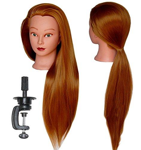 HairZtar 30 Synthetic Fiber Mannequin Head (Long and Thick) Hairdresser Training Head Manikin Cosmetology Doll Head (ELLEN + C) (ELLEN+C)