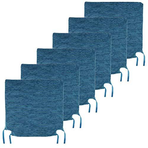 BCASE Pack de 6 Cojines de Asiento y Silla Espuma Fantasy, 40x40cm, Desenfundable con Cremallera, Cómodos, Resistentes, Fácil de Limpiar, para Cocina, Cuarto, Sala, Jardín, Terraza, Patio, Etc. Azul