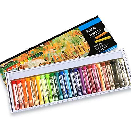 Oil Pastels Set,24 Assorted Colors Professional Art Crayons Soft Non Toxic Round Painting Oil Pastel Stick Art Supplies for Kids, Artists, Beginners,Students, Adults Art Painting Drawing (24 Colors)