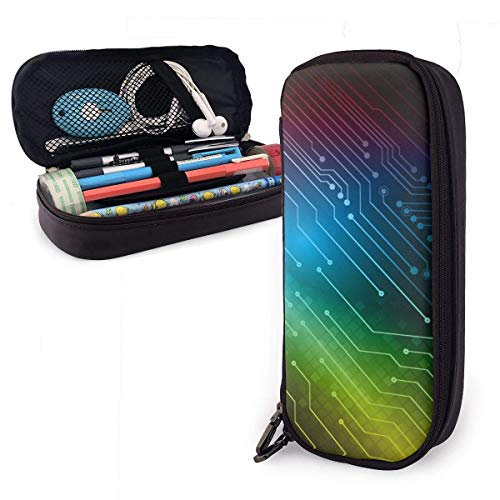 Pencil Case Pen Bag Abstract Rainbow Texture Technology Circuit Board Pencil Case, Large Capacity Pen Case Pencil Bag Stationery Pouch Pencil Holder Pouch with Big Compartments