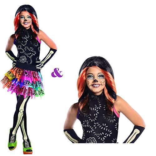 Savahe Monster High Skelita Kostüm mit oder ohne Perücke / Karneval Fasching Halloween Skelett Party (122/128 mit Perücke)