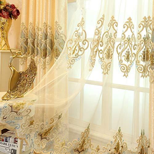 2er-Set Europäische goldene Luxuxjacquard-Vorhänge für Schlafzimmer Wohnzimmer (Tüllvorhang, 245*140 cm)