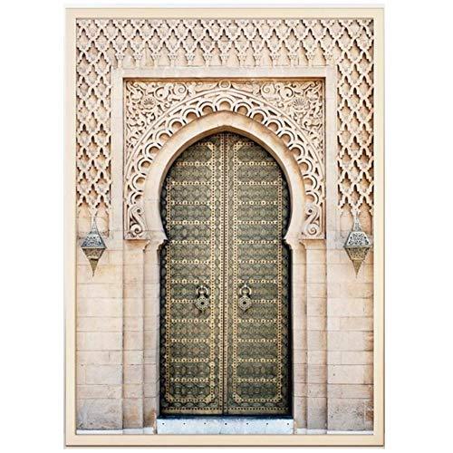 xiongda Marokkanisches Portal Grau Holztür Home Decoration Wandkunst Leinwand Malerei Poster und Drucke Wandbilder für Wohnzimmer / 60X80cm-No Frame