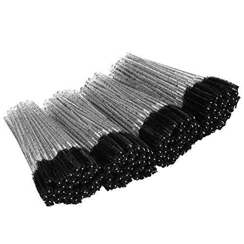 tifanso 200PCS Eyelash Brush Disposable Mascara Brush Wand for Lashes Spoolie brushes Eyebrow Spoolie Eyelash Extension Supplies (Black)