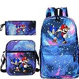 XINKANG Bolso Mary 3pcs/Set Mochila Sonic Super Mario Mochila Lápiz Caso Schoolbag Anime KPOP Notebook Viajes para Chicas Adolescentes