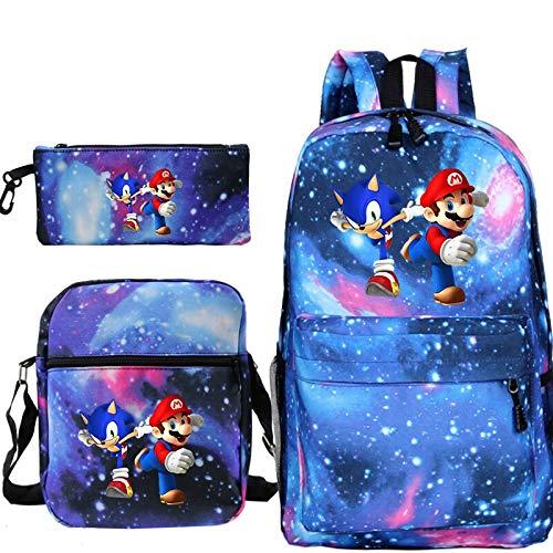 FENGHU Super Mario Backpack 3 Pcs/set Mochila Sonic Super Mario Backpack Pencil Case Schoolbag Anime Kpop Notebook Travel For Teenage Girls