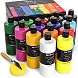 Nicpro 14 Colors Large Bulk Acrylic Paint Set (16.9 oz,500 ml) Rich Acrylic Painting Supplies for Artist, Adults & Kids, Ideal for Multi Surface Craft Art on Canvas Wood Leather Fabric Stone Non Toxic