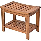 HOMCOM Acacia Wood Shower Bench Seat with Towel Shelf, 2-Tier Bathroom Spa Bathing Stool