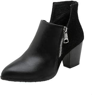 BalaMasa Womens ABS13948 Zipper Solid Closed-Toe Black Pu Boots - 4.5 UK (Lable:38)