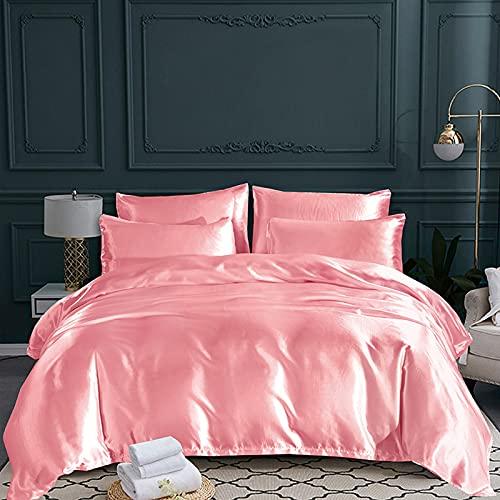 GuLL Juego de ropa de cama de 2 fundas de almohada de satén monocolor, cómodo y liso, 3 piezas, funda nórdica de lujo para cama doble, Jade (229 x 229 cm) + 2 fundas de almohada (50 x 66 cm)