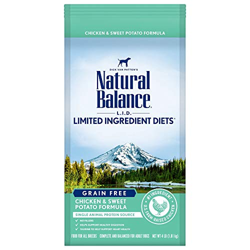 Natural Balance L.I.D. Limited Ingredient Diets Dry Dog Food, Chicken & Sweet Potato Formula, 4 Pounds, Grain Free