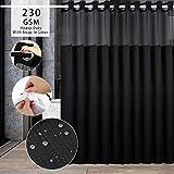 ARGIGU Cortina de ducha con tejido de gofre sin ganchos necesarios con forro a presión, grado hotelero, cortina de baño negro g