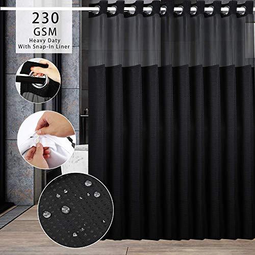 Argigu Duschvorhang, keine Haken erforderlich, Waffelgewebe, mit Einrast-Futter, Hotel-Qualität, Wellness-Stil, Badevorhang, Schwarz